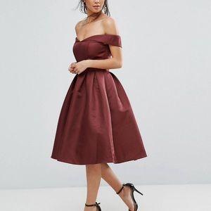 Burgundy Off Shoulder Formal Dress with Full Skirt